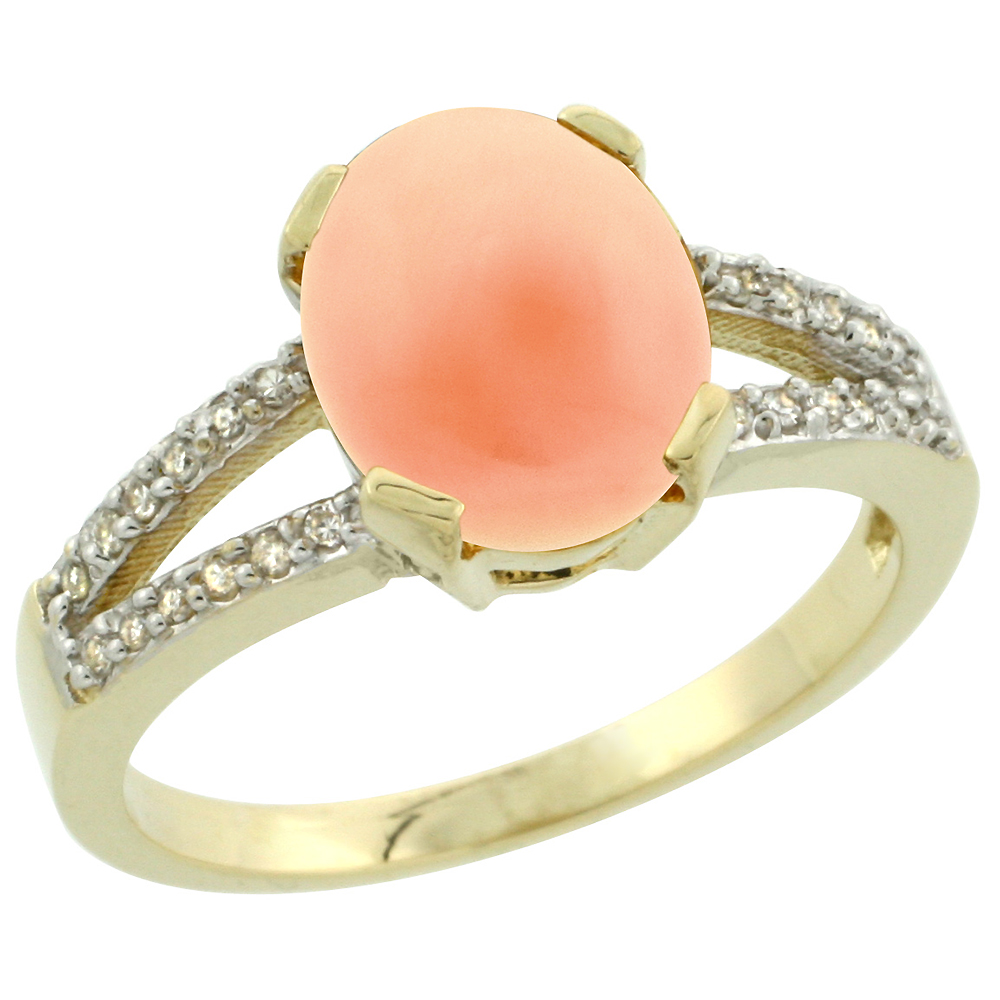 10K Yellow Gold Diamond Natural Coral Engagement Ring Oval 10x8mm, sizes 5-10