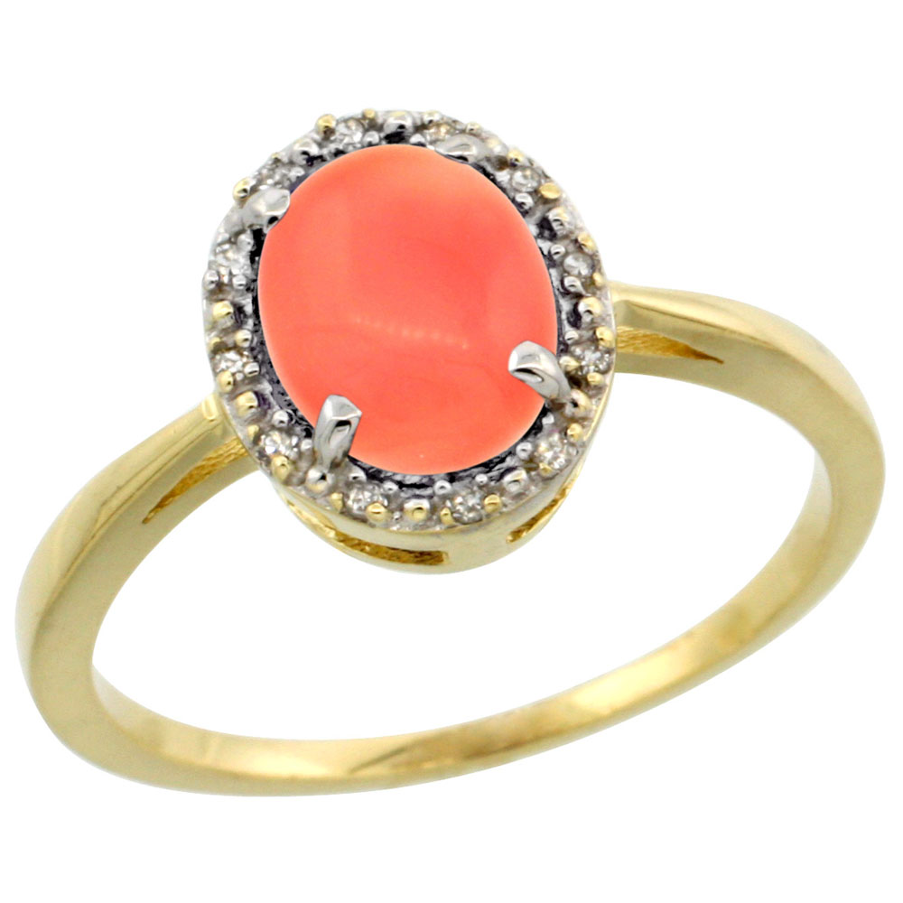 14K Yellow Gold Natural Coral Ring Oval 8x6 mm Diamond Halo, sizes 5-10