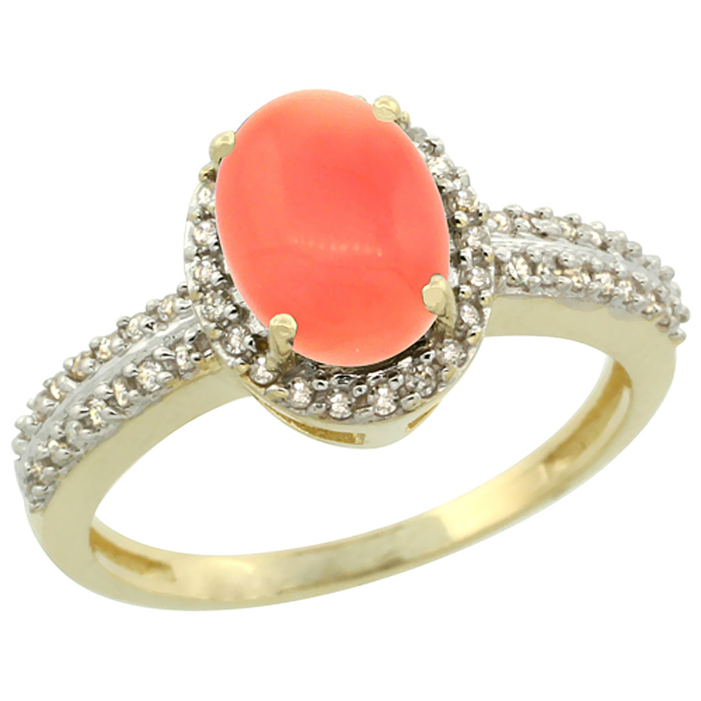 14K Yellow Gold Natural Coral Ring Oval 8x6mm Diamond Halo, sizes 5-10