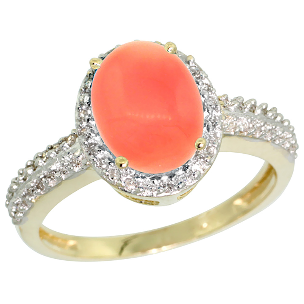 14K Yellow Gold Diamond Natural Coral Ring Oval 9x7mm, sizes 5-10