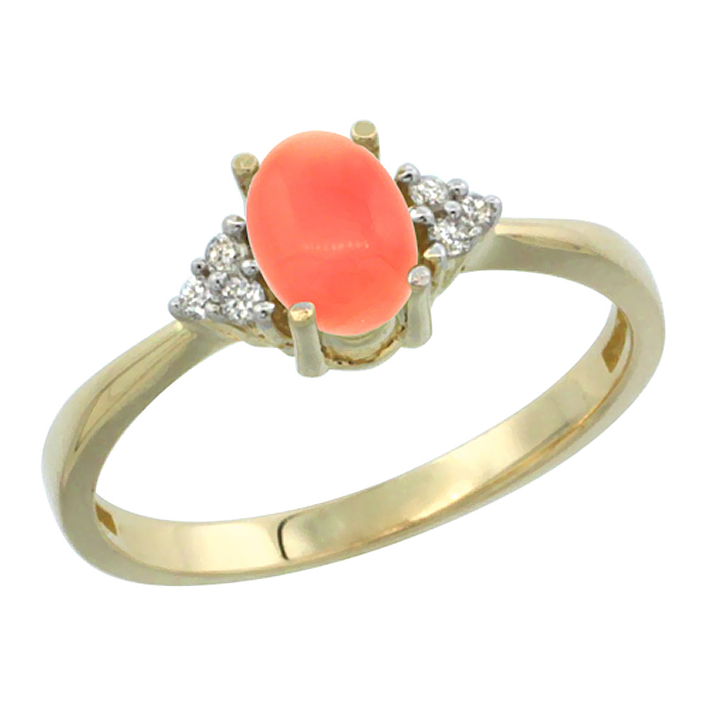 14K Yellow Gold Diamond Natural Coral Engagement Ring Oval 7x5mm, sizes 5-10