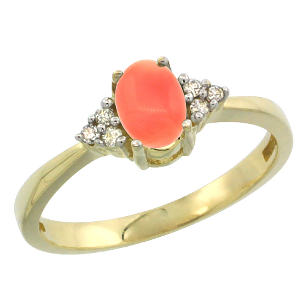 14K Yellow Gold Natural Coral Ring Oval 6x4mm Diamond Accent, sizes 5-10