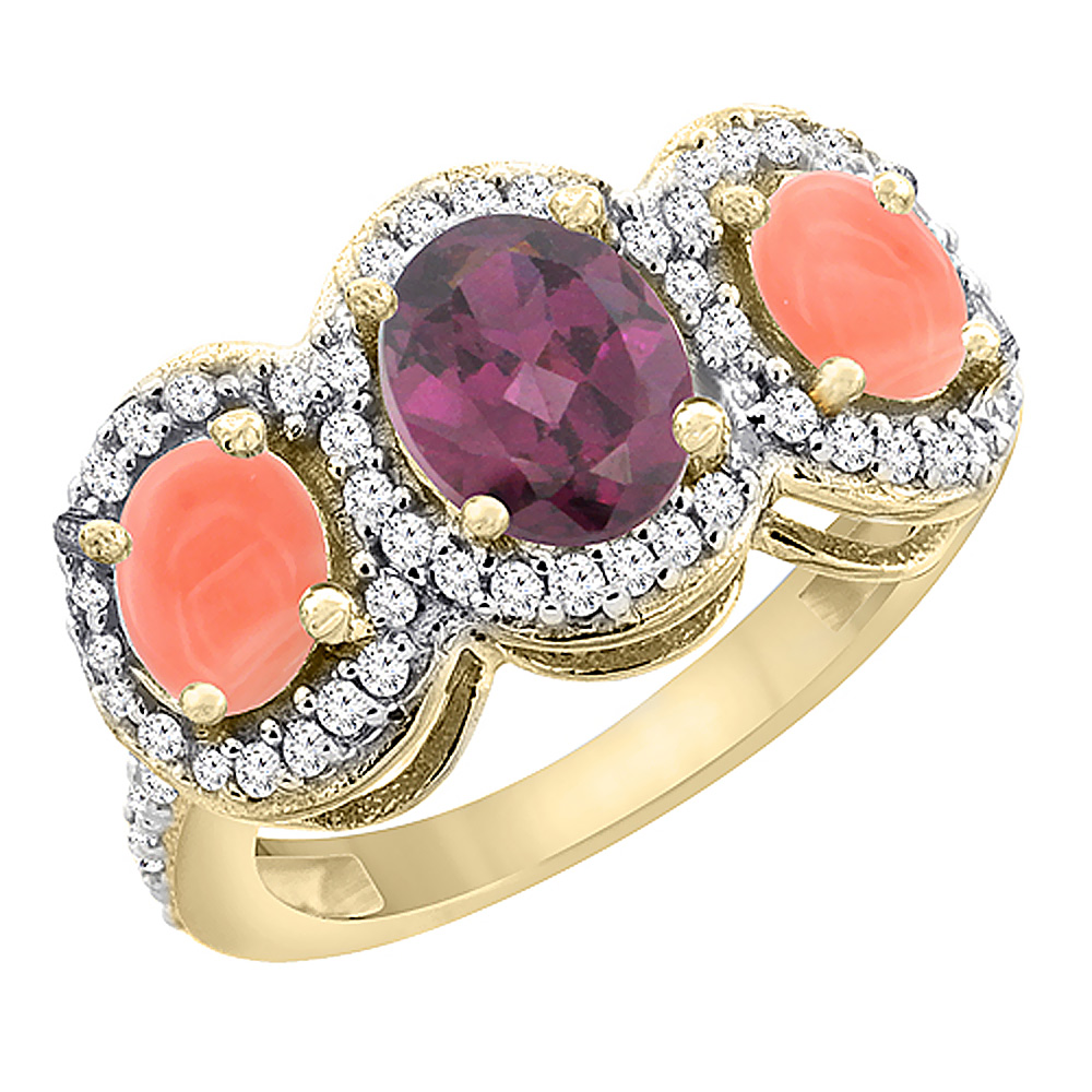 10K Yellow Gold Natural Rhodolite & Coral 3-Stone Ring Oval Diamond Accent, sizes 5 - 10