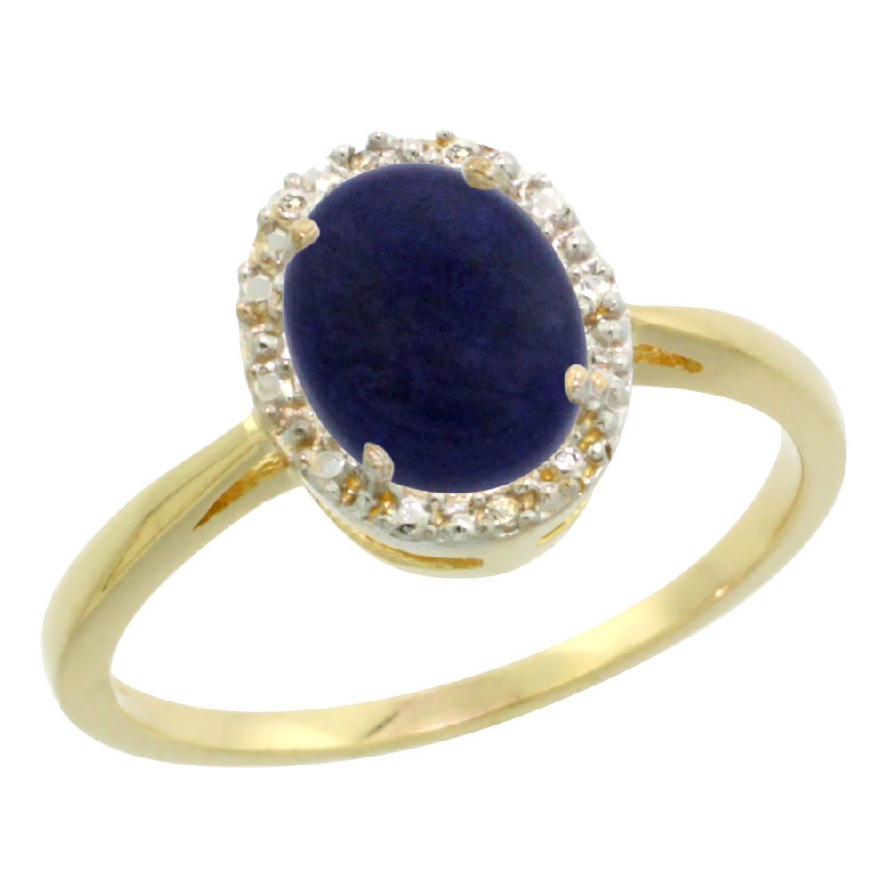 10K Yellow Gold Natural Lapis Diamond Halo Ring Oval 8X6mm, sizes 5 10