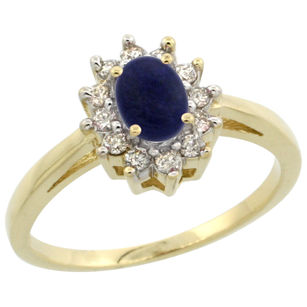 10K Yellow Gold Natural Lapis Flower Diamond Halo Ring Oval 6x4 mm, sizes 5 10