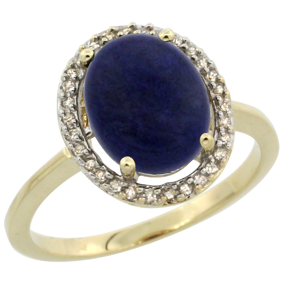 10K Yellow Gold Diamond Halo Natural Lapis Engagement Ring Oval 10x8 mm, sizes 5 10