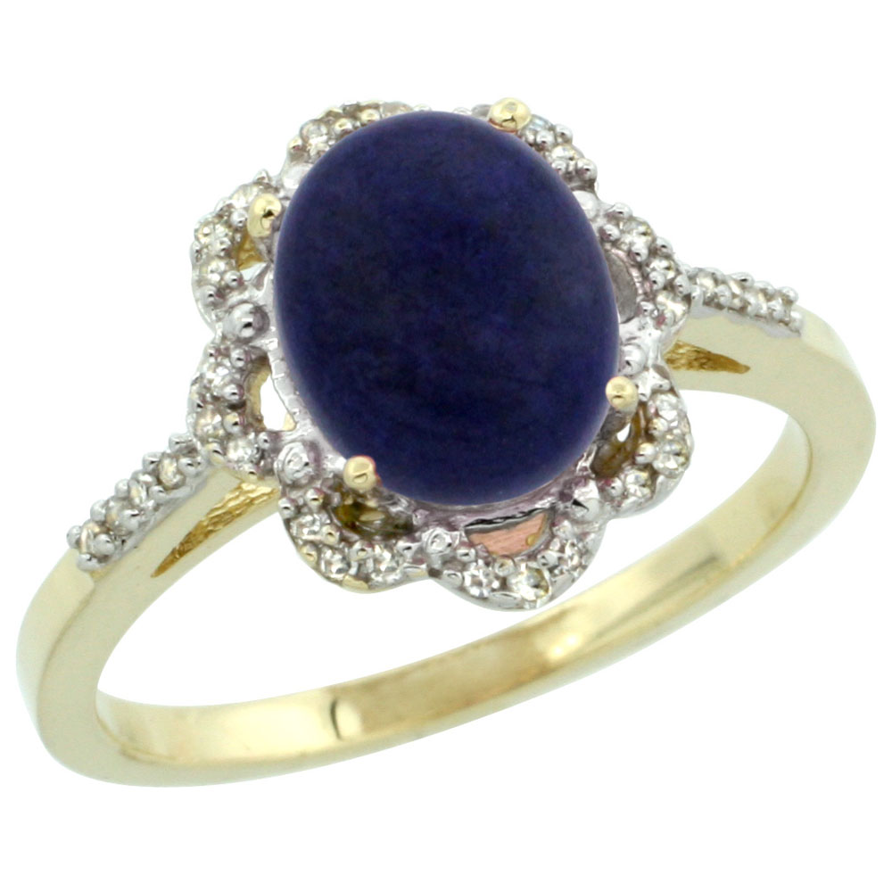 10K Yellow Gold Diamond Halo Natural Lapis Engagement Ring Oval 9x7mm, sizes 5-10