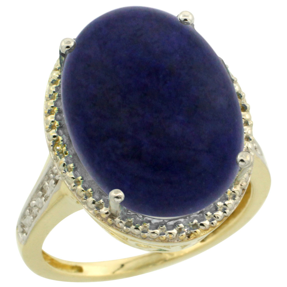 10K Yellow Gold Diamond Natural Lapis Ring Oval 18x13mm, sizes 5-10