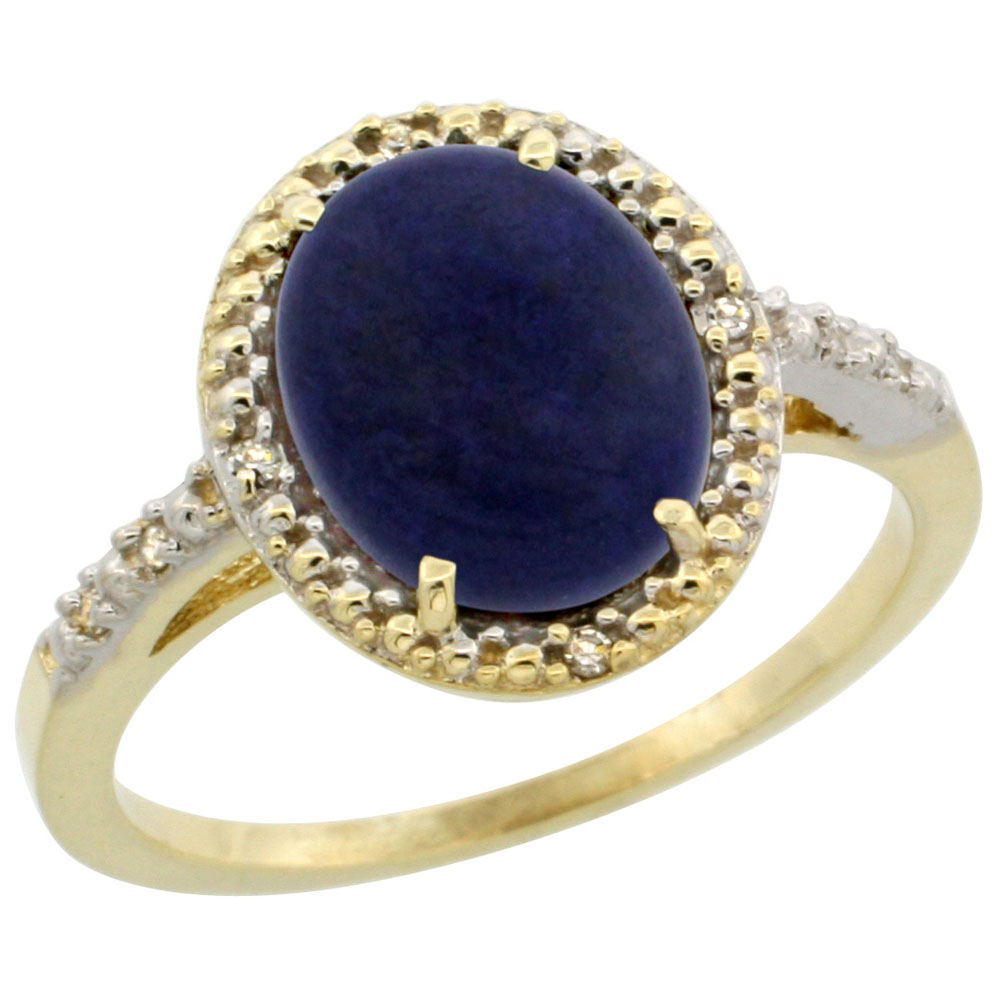 10K Yellow Gold Diamond Natural Lapis Engagement Ring Oval 10x8mm, sizes 5-10