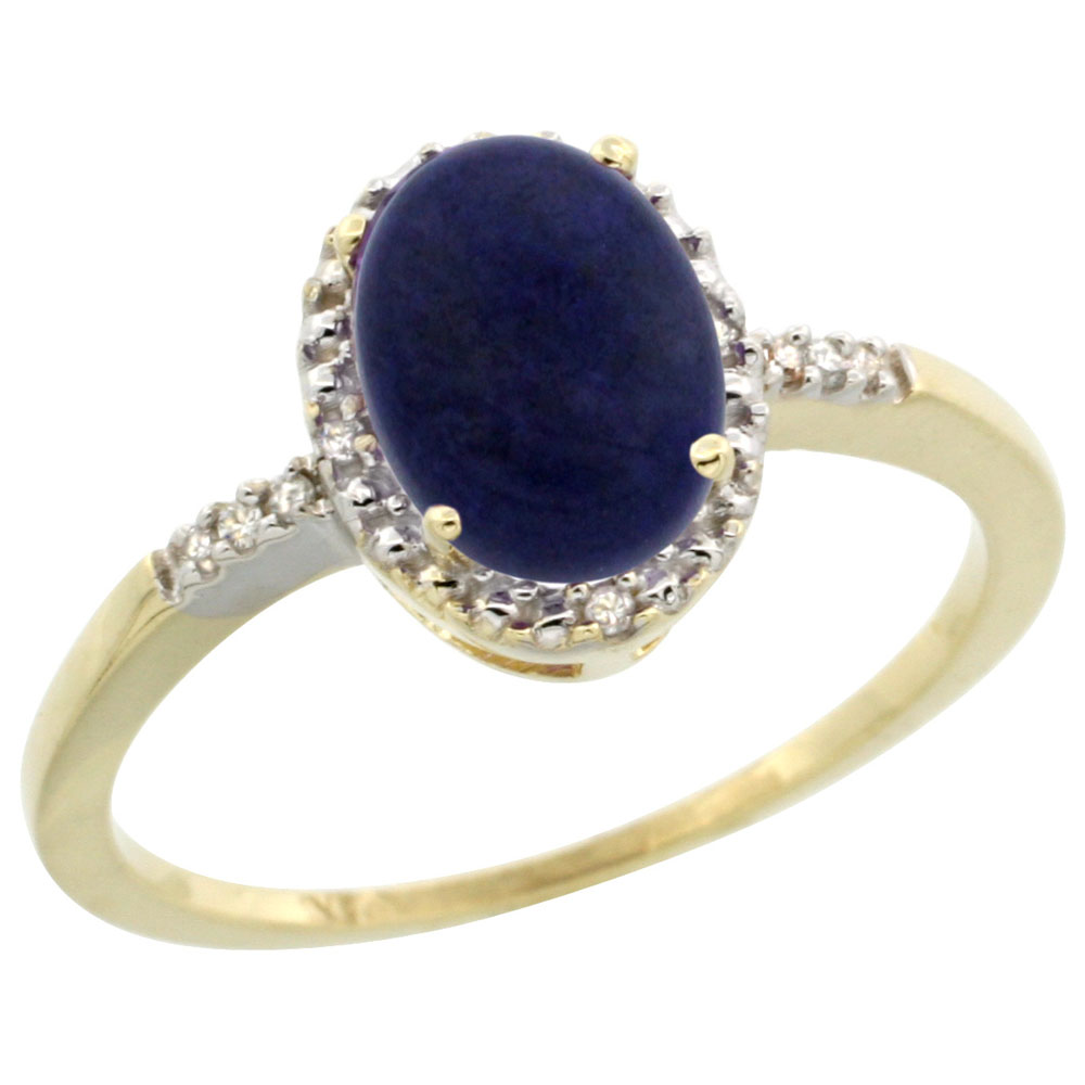 10K Yellow Gold Diamond Natural Lapis Ring Oval 8x6mm, sizes 5-10