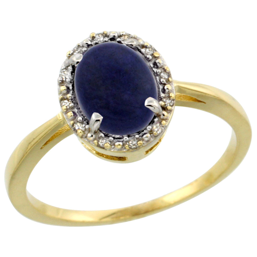 10k Yellow Gold Natural Lapis Ring Oval 8x6 mm Diamond Halo, sizes 5-10