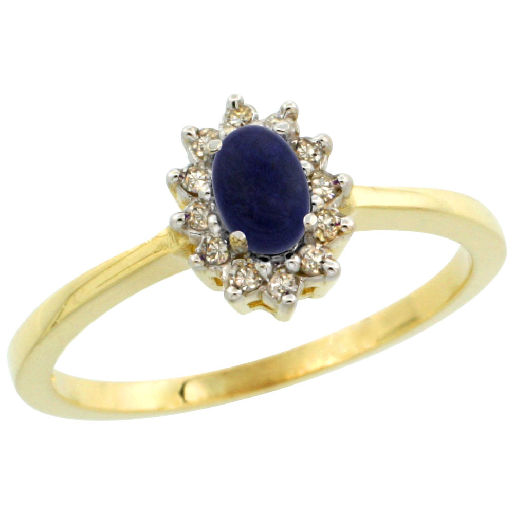10k Yellow Gold Natural Lapis Ring Oval 5x3mm Diamond Halo, sizes 5-10