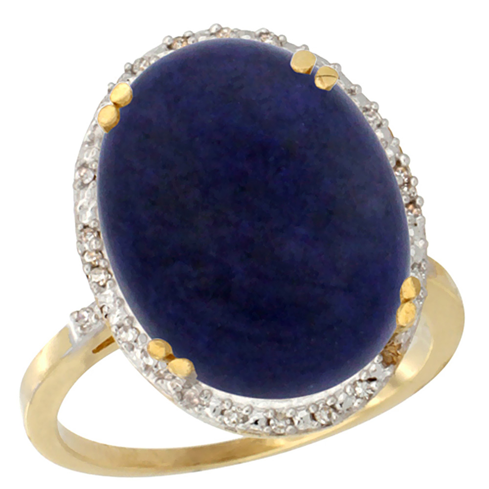 10k Yellow Gold Natural Lapis Ring Large Oval 18x13mm Diamond Halo, sizes 5-10