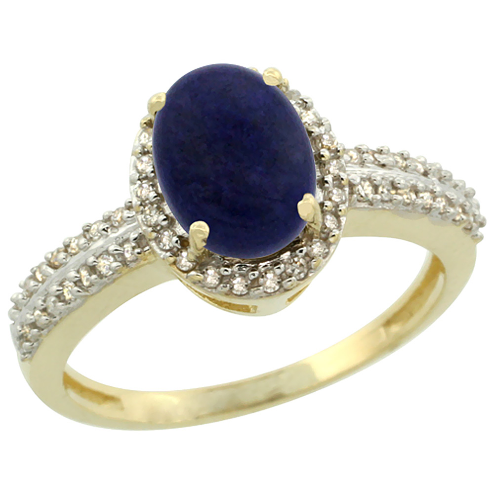 10k Yellow Gold Natural Lapis Ring Oval 8x6mm Diamond Halo, sizes 5-10