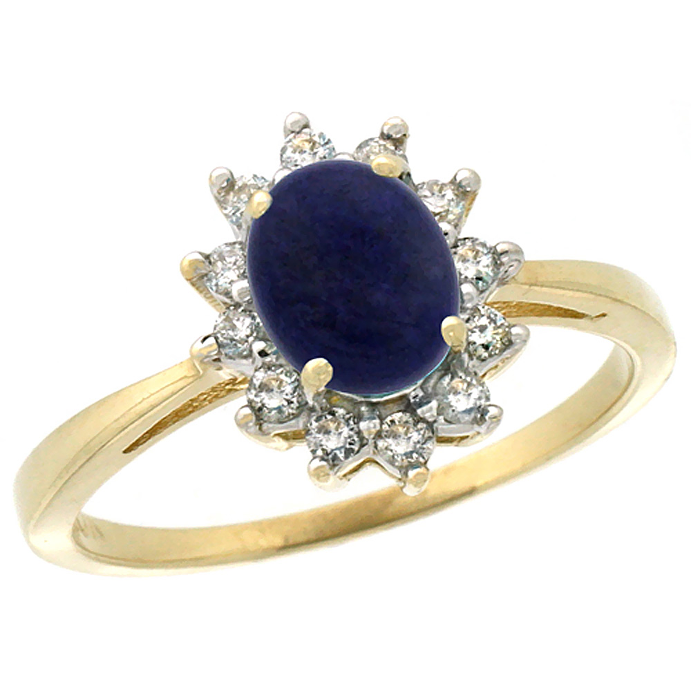 10k Yellow Gold Natural Lapis Engagement Ring Oval 7x5mm Diamond Halo, sizes 5-10