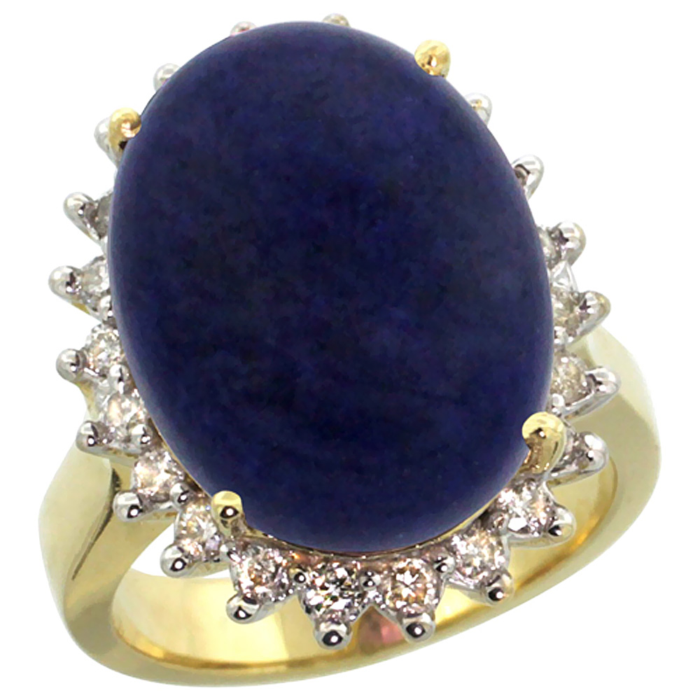 10k Yellow Gold Diamond Halo Natural Lapis Ring Large Oval 18x13mm, sizes 5-10