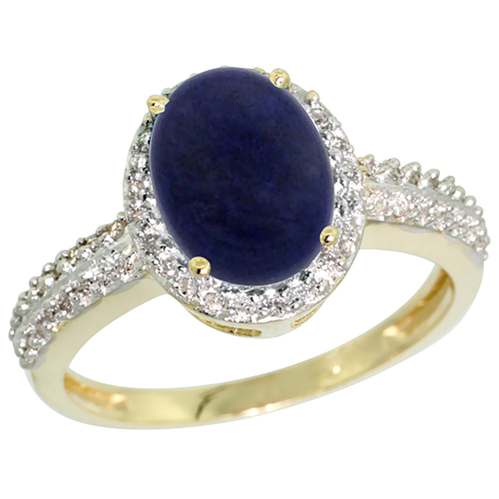 10K Yellow Gold Diamond Natural Lapis Ring Oval 9x7mm, sizes 5-10