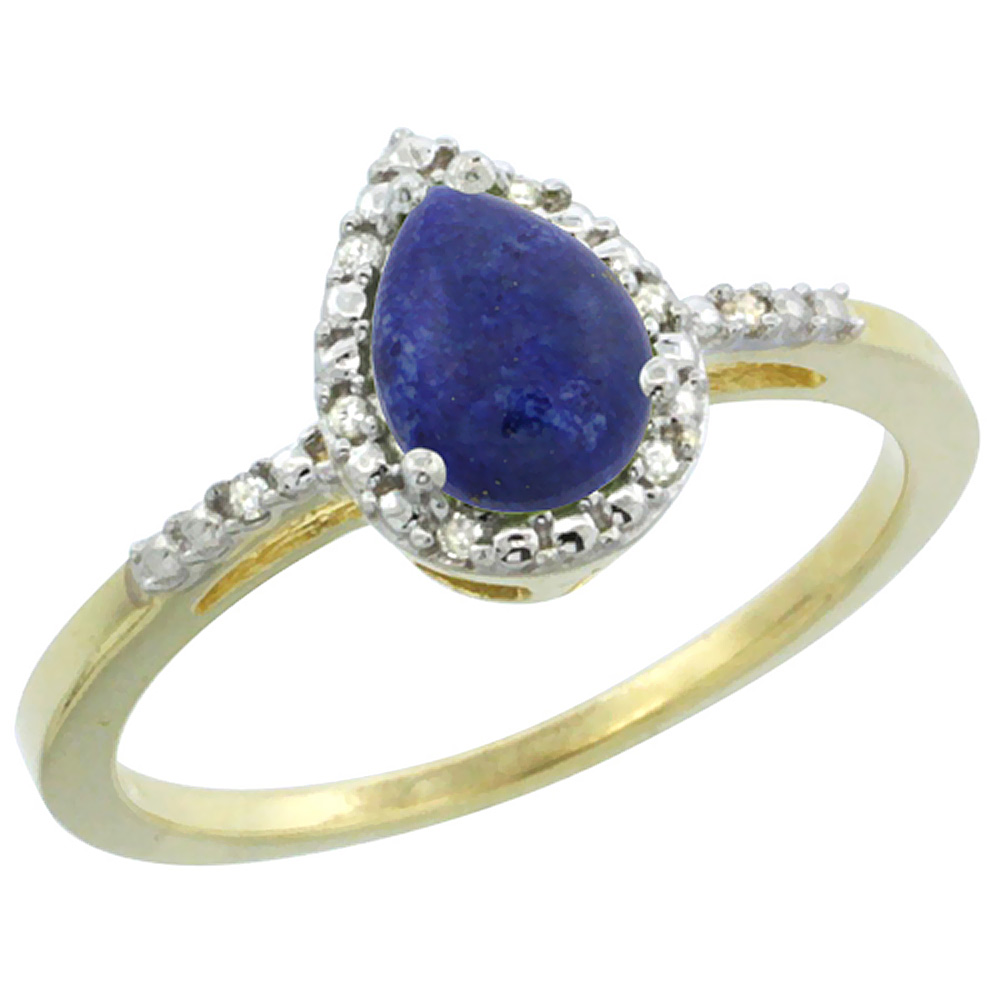 14K Yellow Gold Diamond Natural Lapis Ring Pear 7x5mm, sizes 5-10