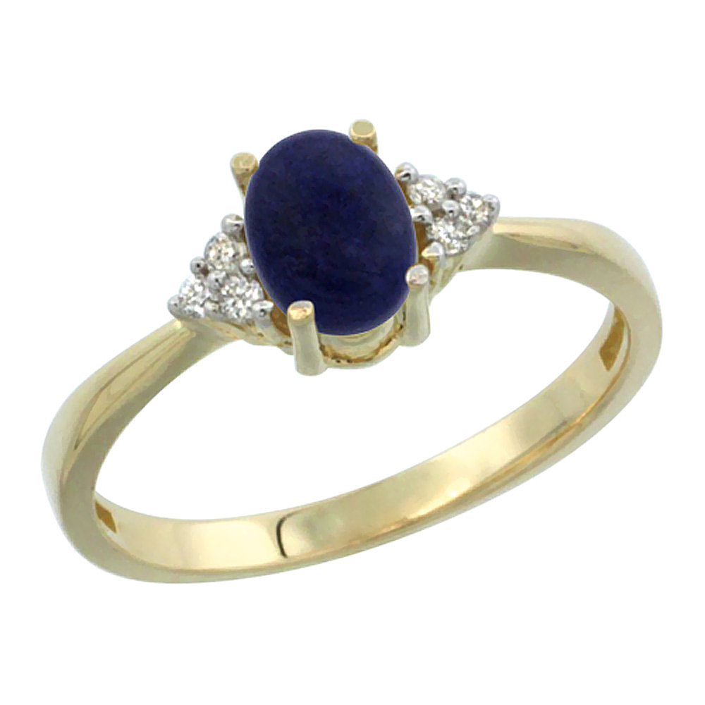 14K Yellow Gold Diamond Natural Lapis Engagement Ring Oval 7x5mm, sizes 5-10