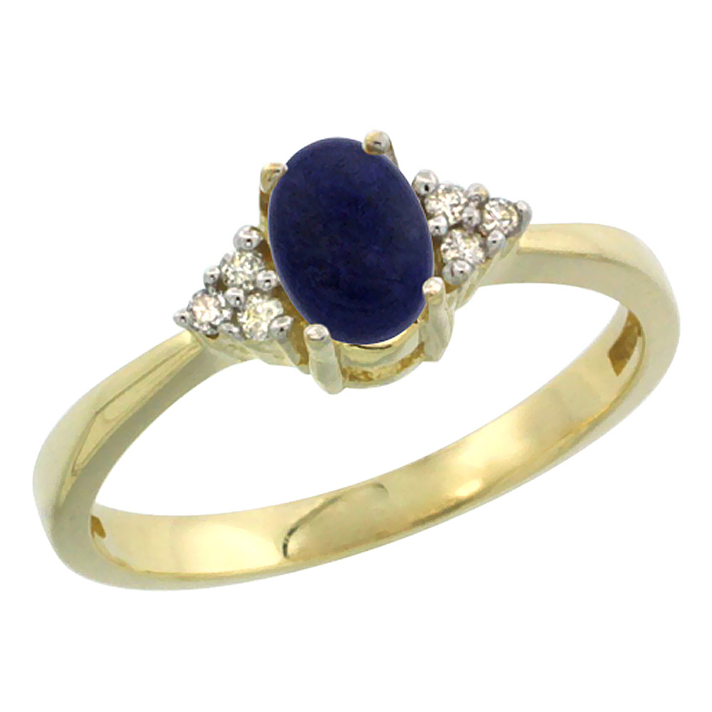 14K Yellow Gold Natural Lapis Ring Oval 6x4mm Diamond Accent, sizes 5-10