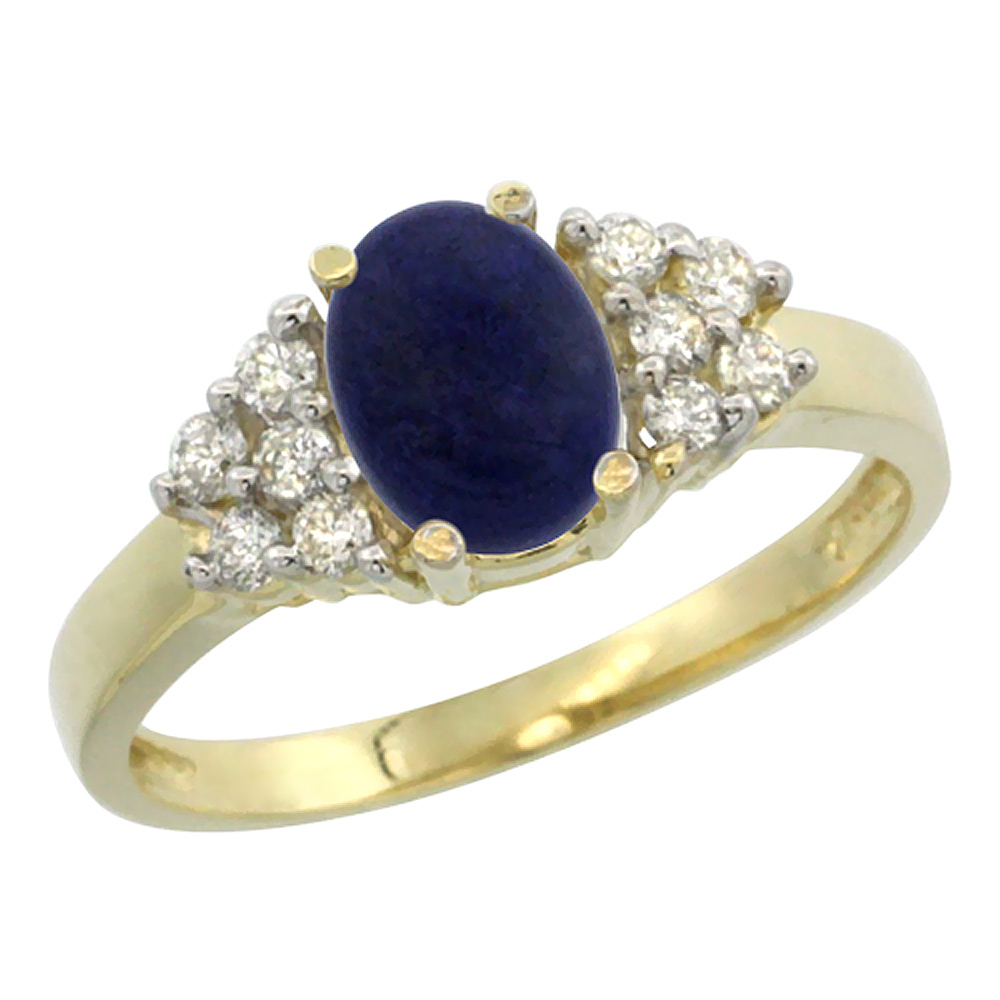 14K Yellow Gold Natural Lapis Ring Oval 8x6mm Diamond Accent, sizes 5-10