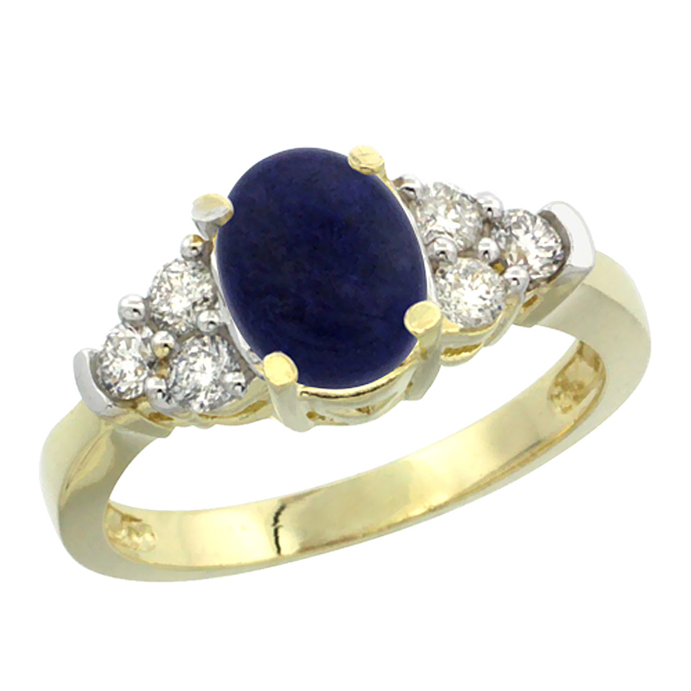 14K Yellow Gold Natural Lapis Ring Oval 9x7mm Diamond Accent, sizes 5-10
