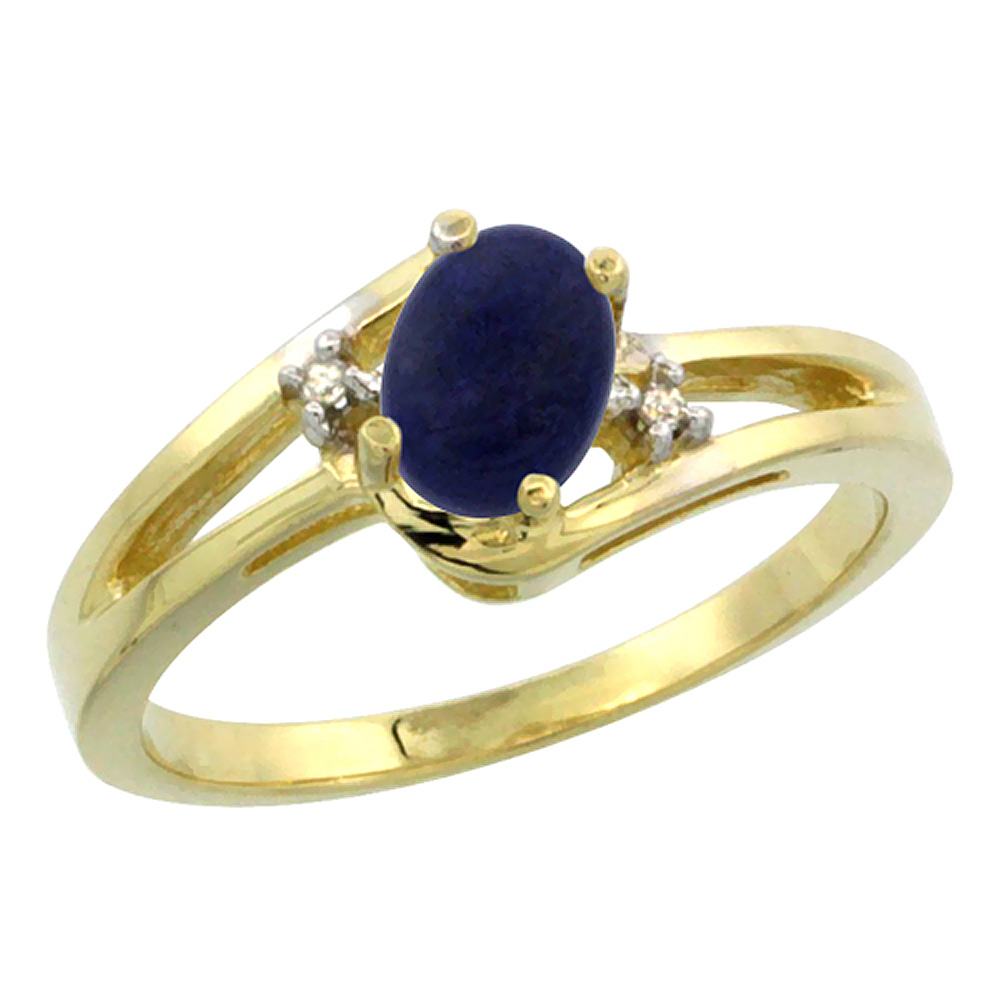 14K Yellow Gold Diamond Natural Lapis Ring Oval 6x4 mm, sizes 5-10