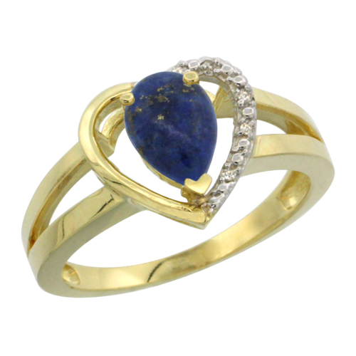 14K Yellow Gold Natural Lapis Heart Ring Pear 7x5 mm Diamond Accent, sizes 5-10