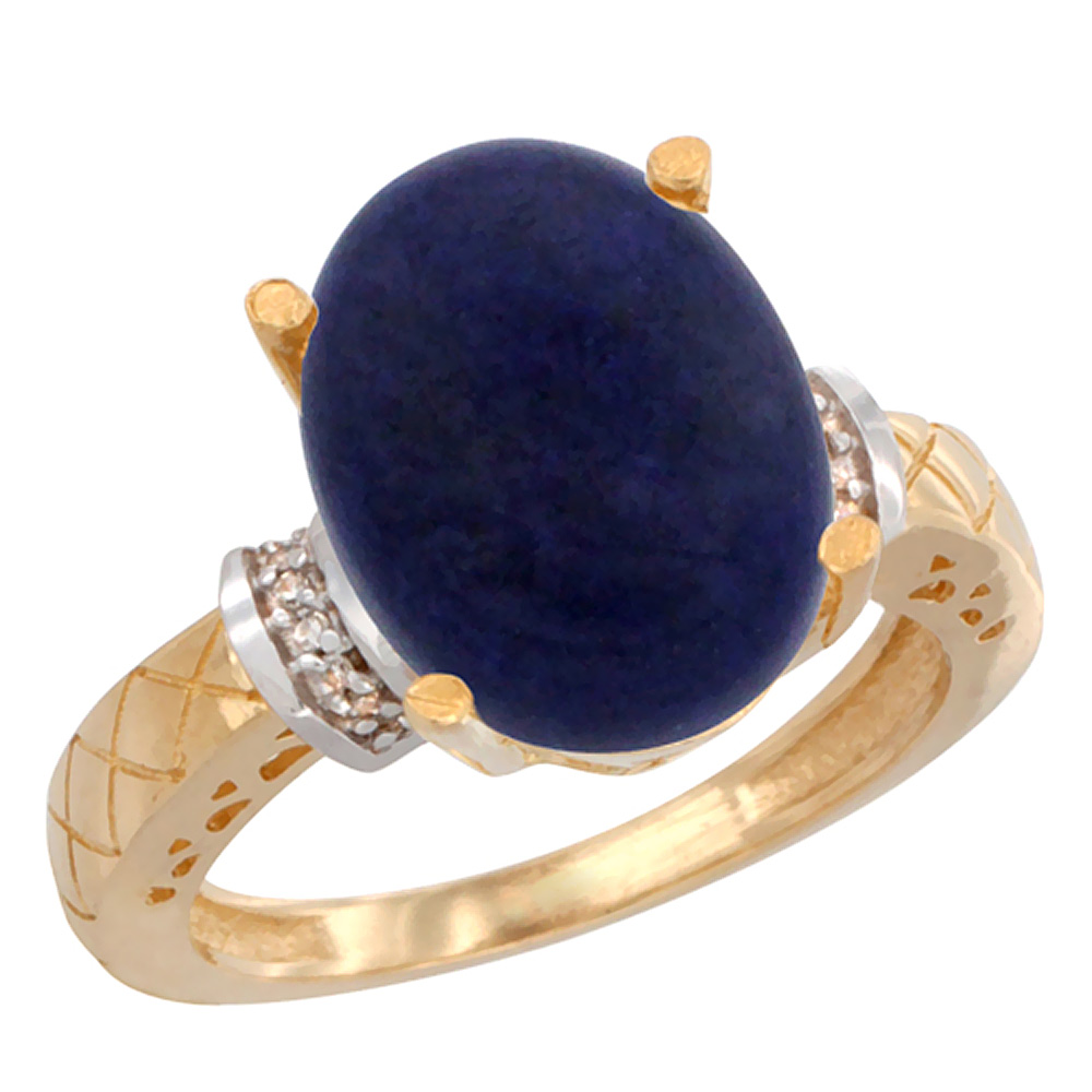 14K Yellow Gold Diamond Natural Lapis Ring Oval 14x10mm, sizes 5-10