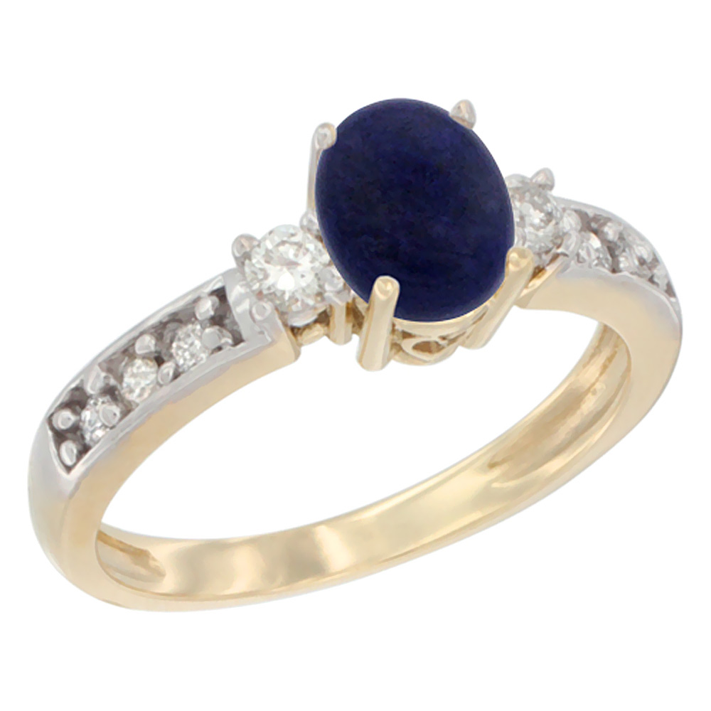 14K Yellow Gold Natural Lapis Ring Oval 7x5 mm Diamond Accent, sizes 5 - 10
