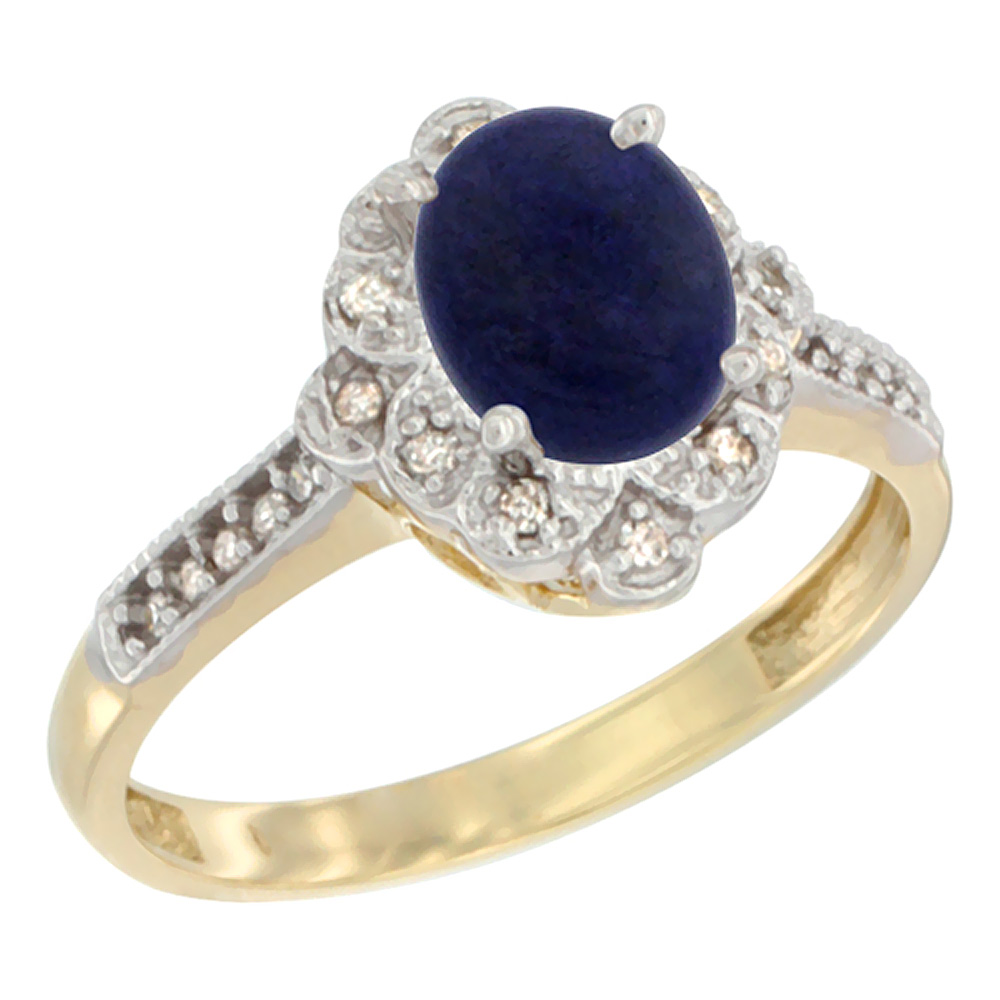 14K Yellow Gold Natural Lapis Ring Oval 8x6 mm Floral Diamond Halo, sizes 5 - 10