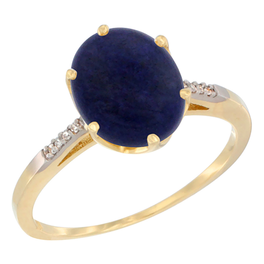 14K Yellow Gold Natural Lapis Engagement Ring 10x8 mm Oval, sizes 5 - 10