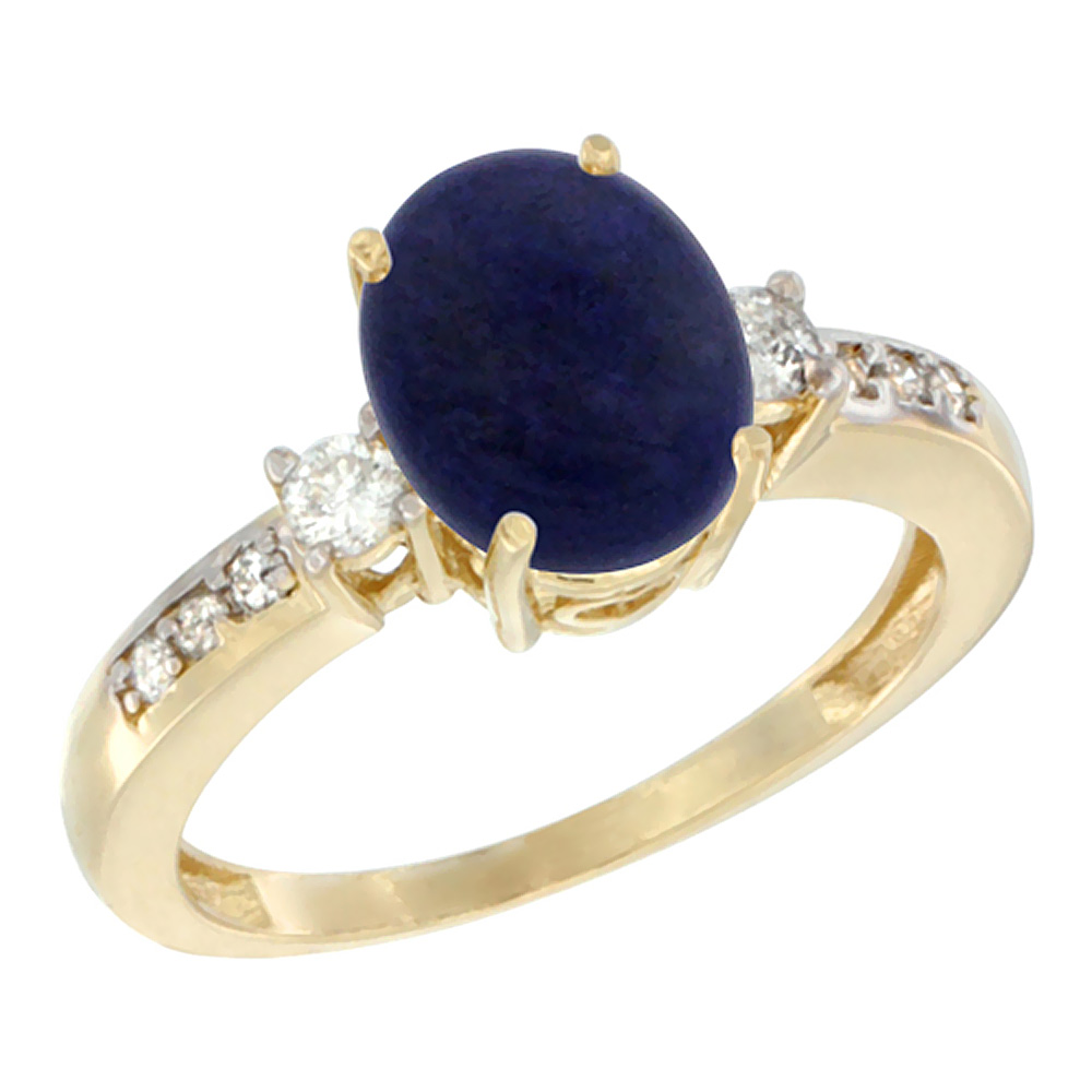 14K Yellow Gold Natural Lapis Ring Oval 9x7 mm Diamond Accent, sizes 5 - 10