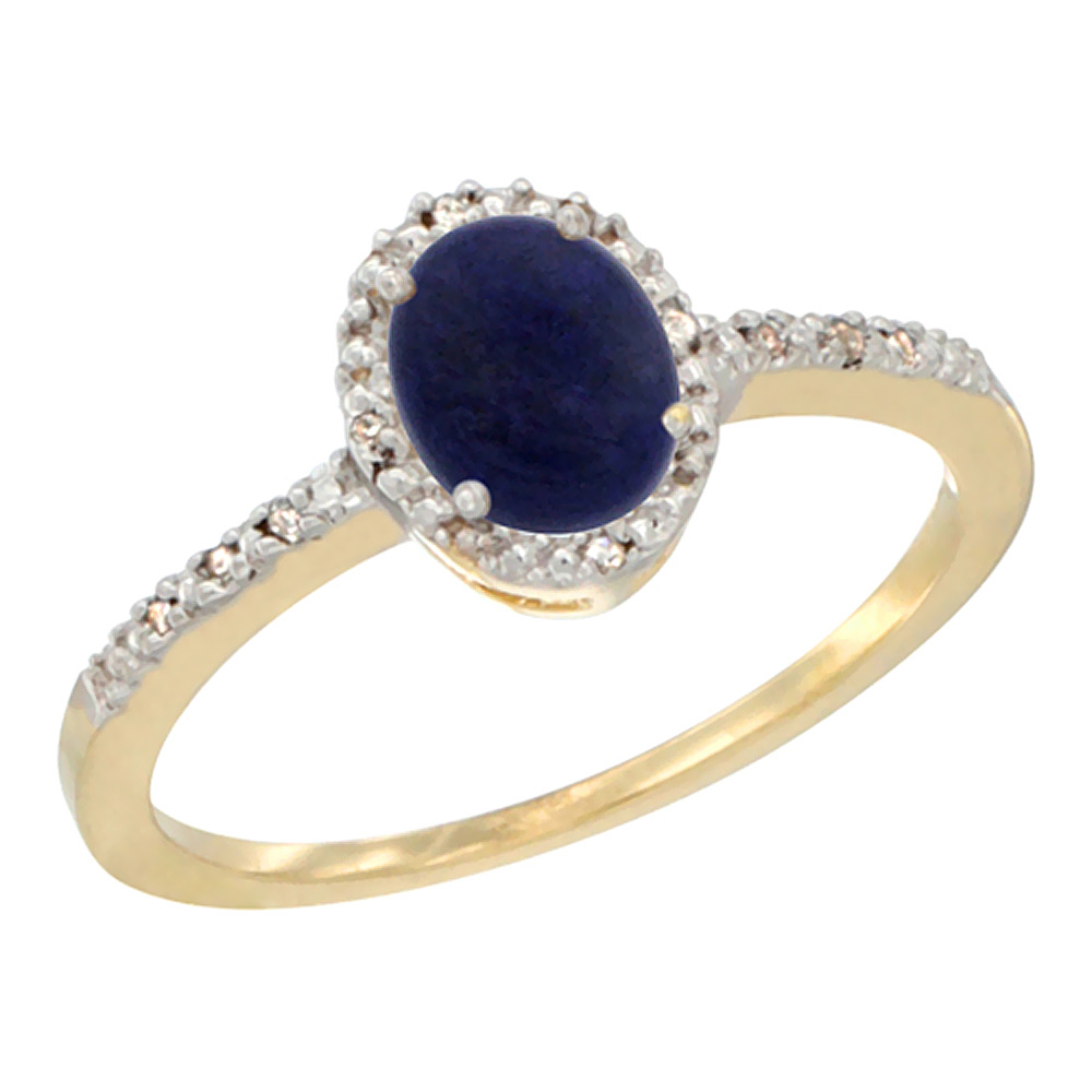 14K Yellow Gold Diamond Natural Lapis Engagement Ring Oval 7x5 mm, sizes 5 - 10