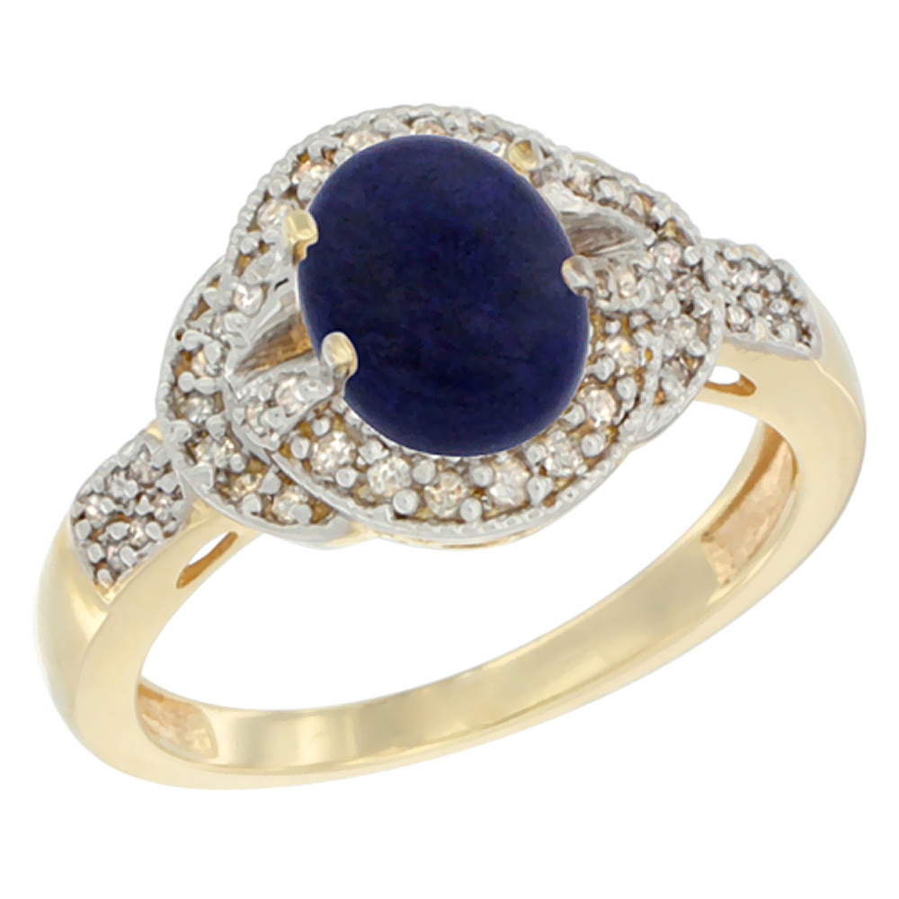 14K Yellow Gold Natural Lapis Ring Oval 8x6 mm Diamond Accent, sizes 5 - 10