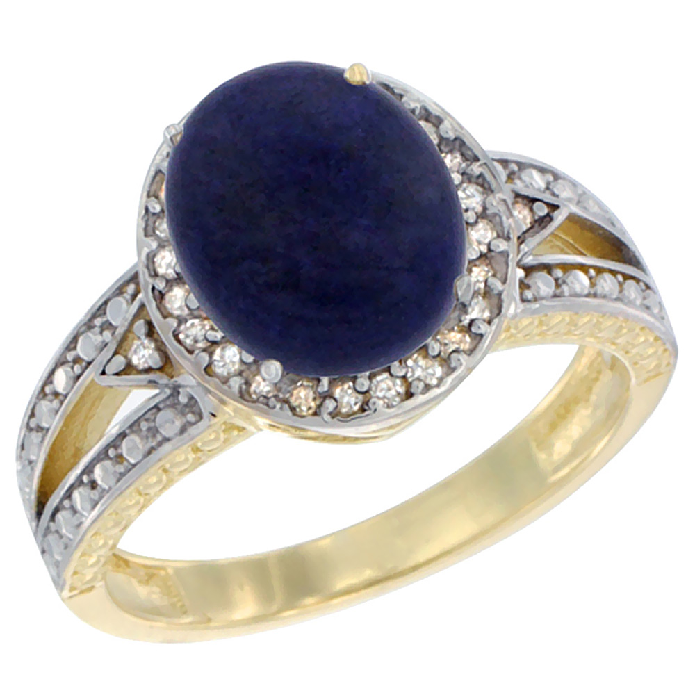 14K Yellow Gold Natural Lapis Ring Oval 9x7 mm Diamond Halo, sizes 5 - 10