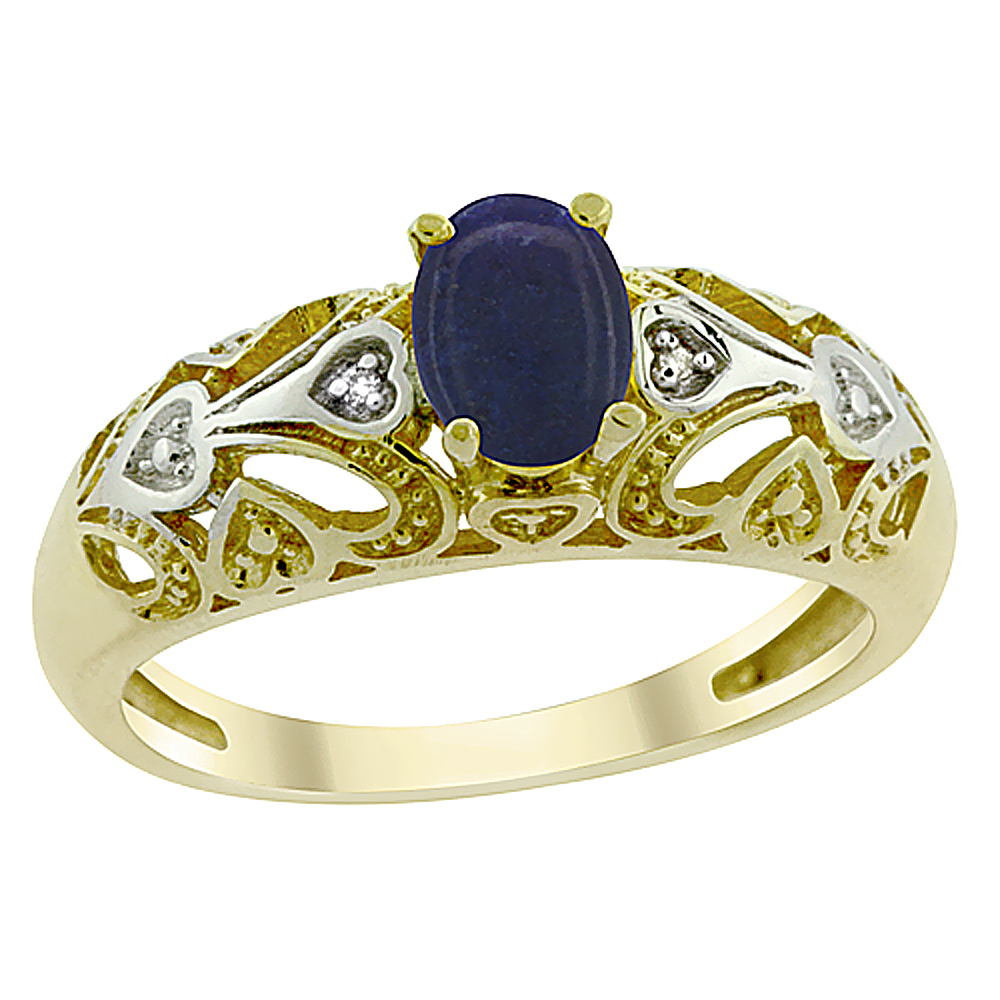 14K Yellow Gold Natural Lapis Ring Oval 6x4 mm Diamond Accent, sizes 5 - 10