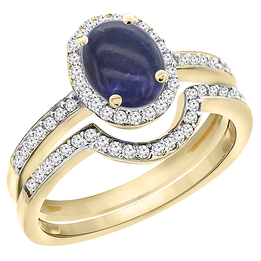 14K Yellow Gold Diamond Natural Lapis 2-Pc. Engagement Ring Set Oval 8x6 mm, sizes 5 - 10