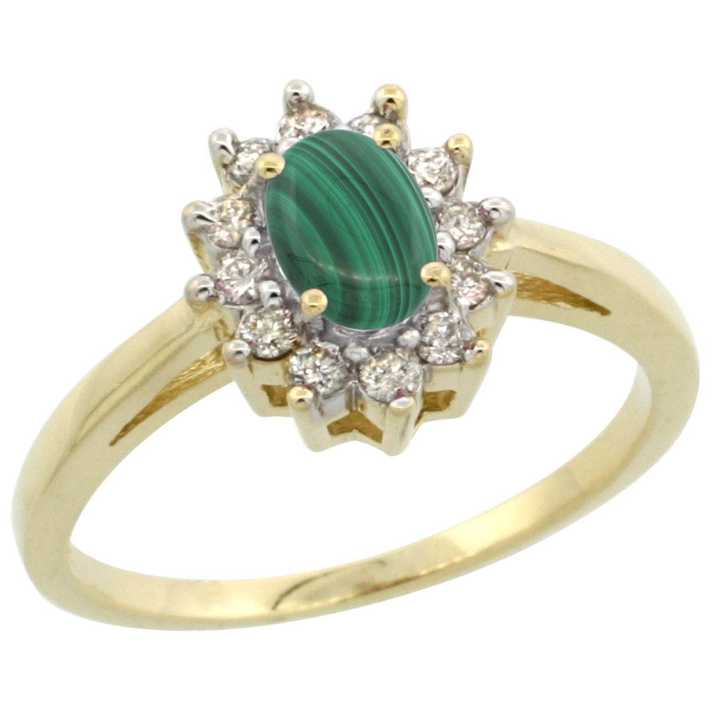 14K Yellow Gold Natural Malachite Flower Diamond Halo Ring Oval 6x4 mm, sizes 5 10