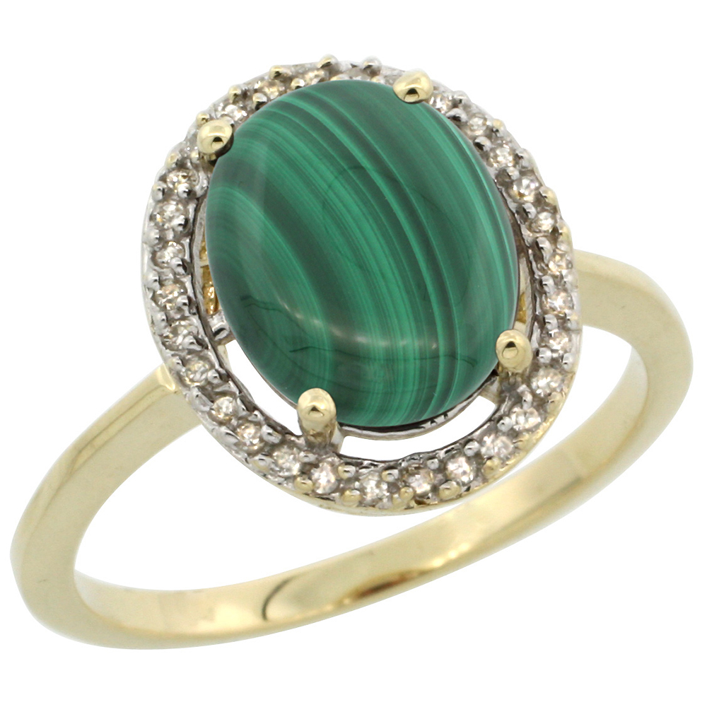 10K Yellow Gold Diamond Halo Natural Malachite Engagement Ring Oval 10x8 mm, sizes 5 10