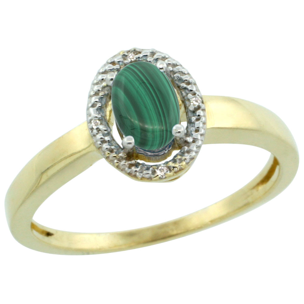 14K Yellow Gold Diamond Halo Natural Malachite Engagement Ring Oval 6X4 mm, sizes 5-10
