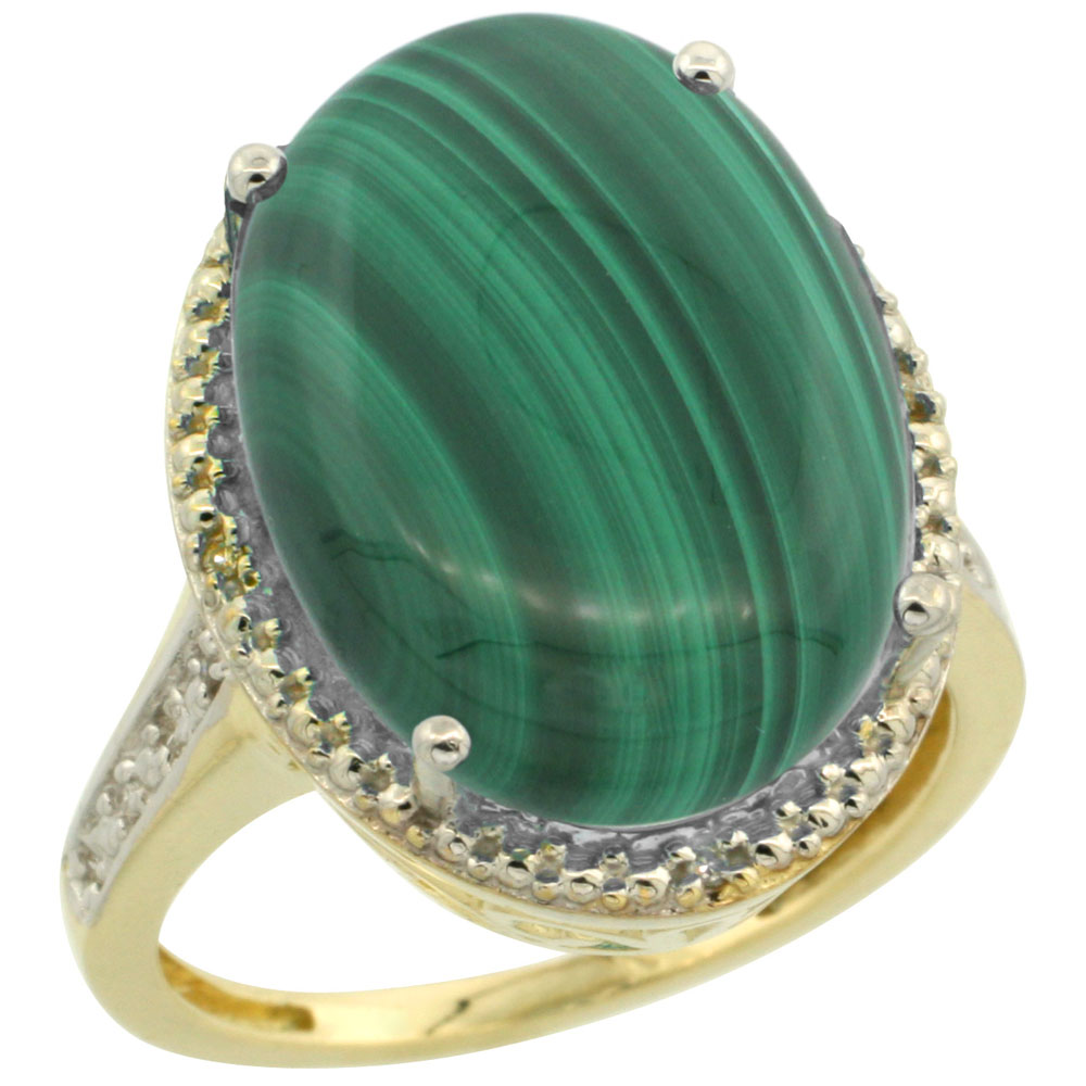 14K Yellow Gold Diamond Natural Malachite Ring Oval 18x13mm, sizes 5-10