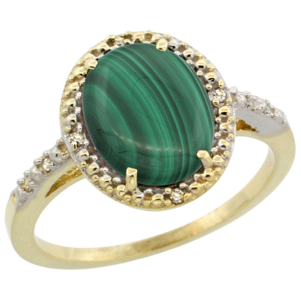 10K Yellow Gold Diamond Natural Malachite Engagement Ring Oval 10x8mm, sizes 5-10