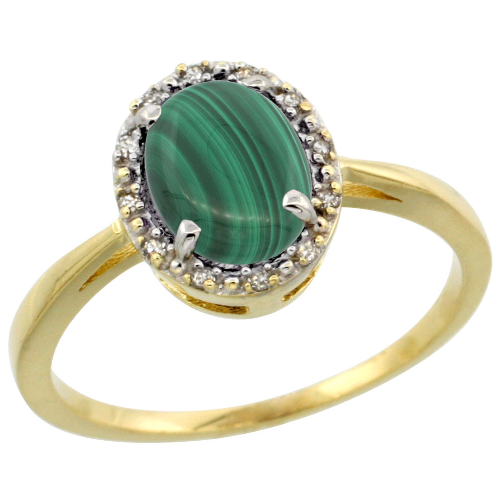 14K Yellow Gold Natural Malachite Ring Oval 8x6 mm Diamond Halo, sizes 5-10