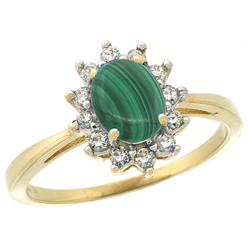 10k Yellow Gold Natural Malachite Engagement Ring Oval 7x5mm Diamond Halo, sizes 5-10