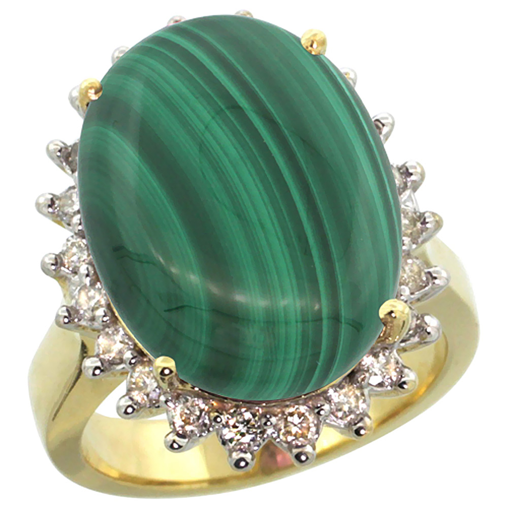 14k Yellow Gold Diamond Halo Natural Malachite Ring Large Oval 18x13mm, sizes 5-10