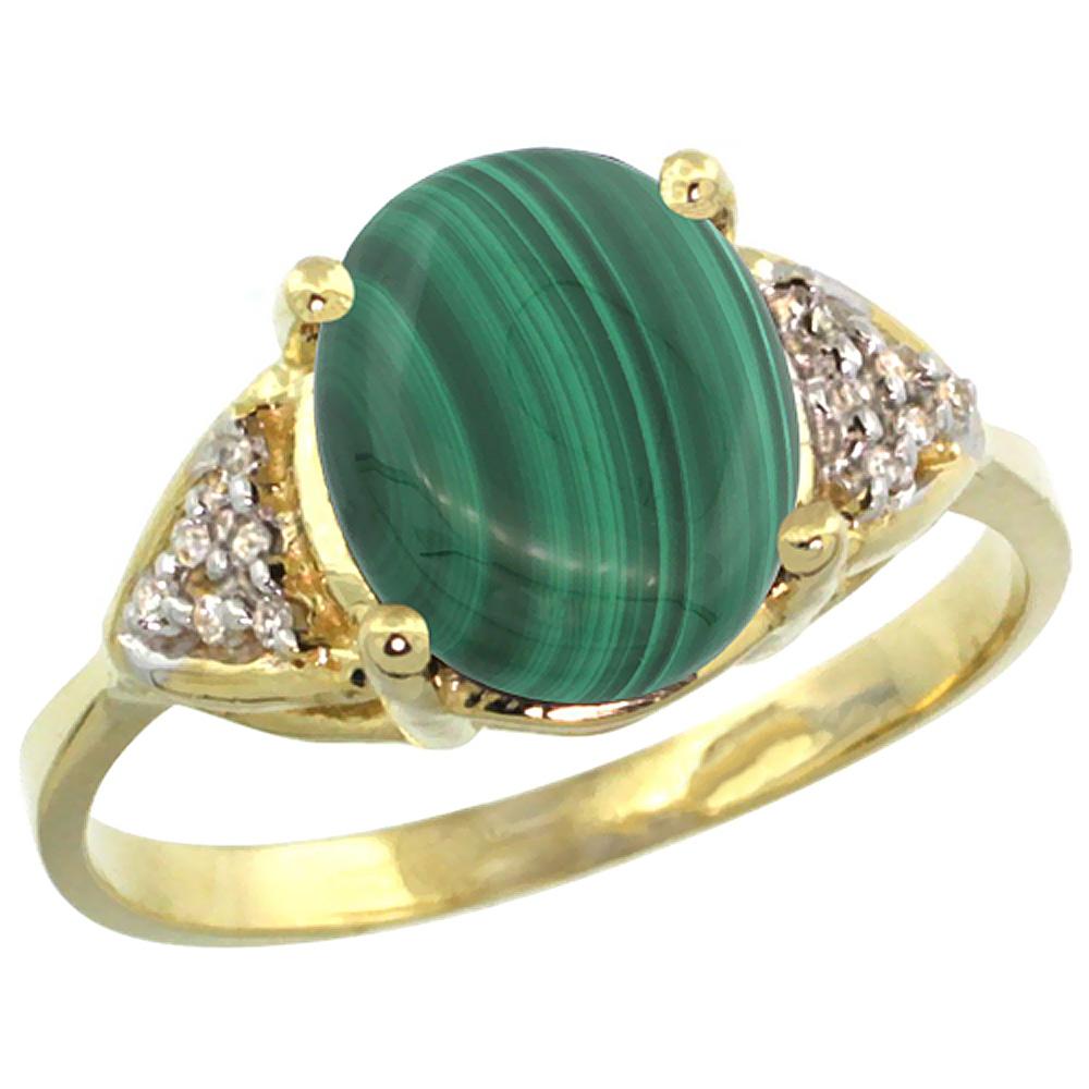 10K Yellow Gold Diamond Natural Malachite Engagement Ring Oval 10x8mm, sizes 5-10