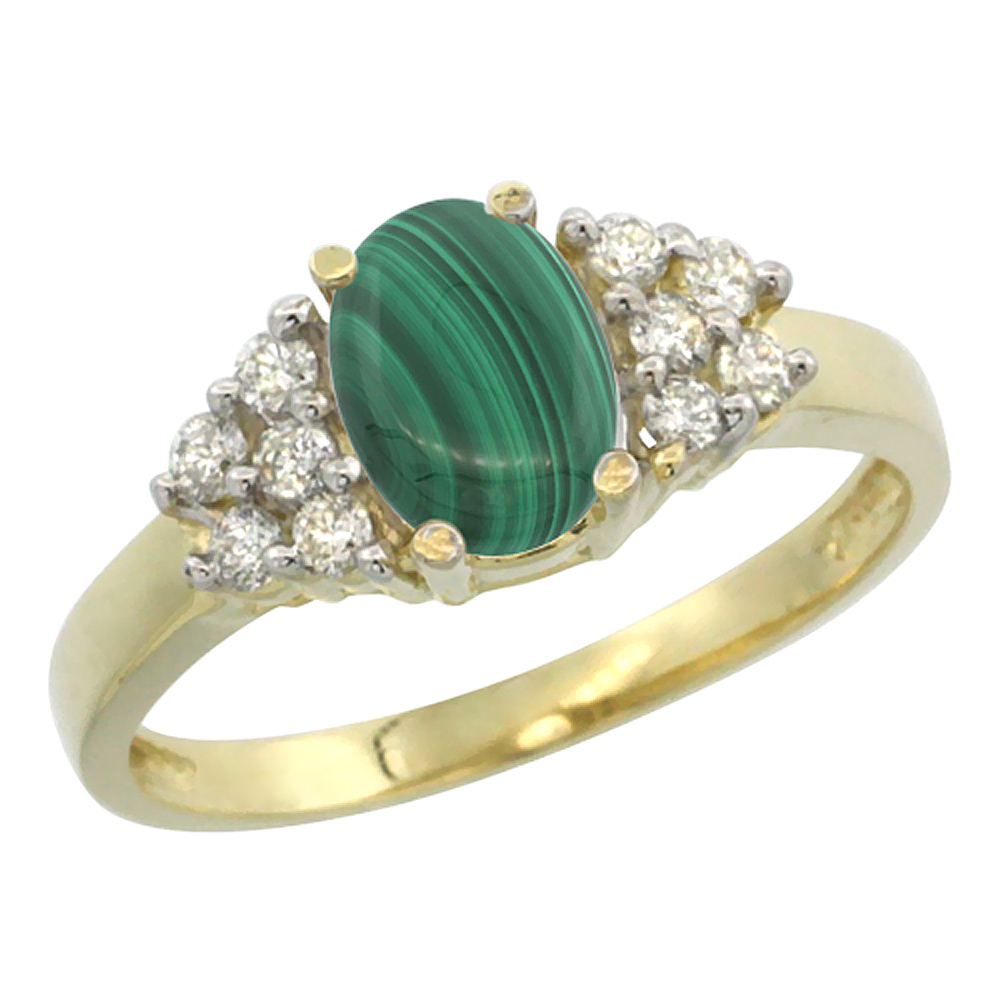 14K Yellow Gold Natural Malachite Ring Oval 8x6mm Diamond Accent, sizes 5-10