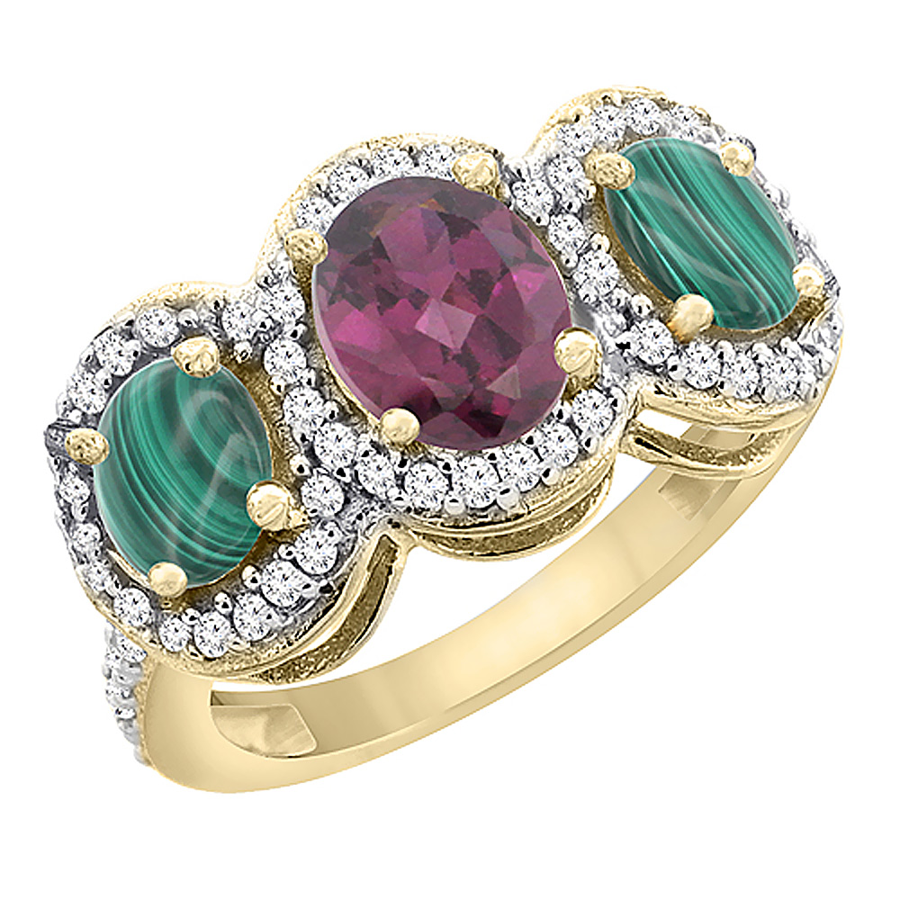 14K Yellow Gold Natural Rhodolite & Malachite 3-Stone Ring Oval Diamond Accent, sizes 5 - 10
