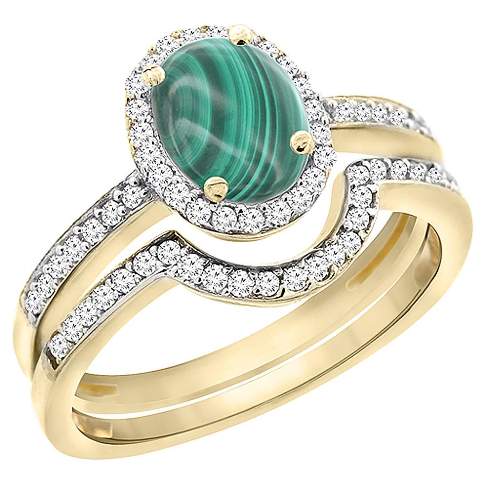 14K Yellow Gold Diamond Natural Malachite 2-Pc. Engagement Ring Set Oval 8x6 mm, sizes 5 - 10